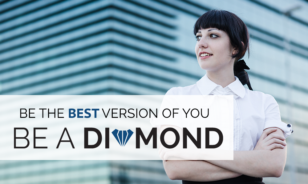 Young Woman in Front of Office Building: Be the best version of you Be a diamond