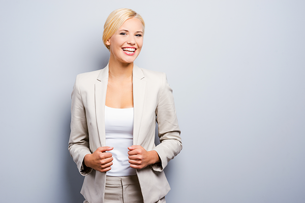 Confident woman in suit