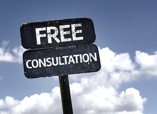 "Sign reading ""Free Consultation"""