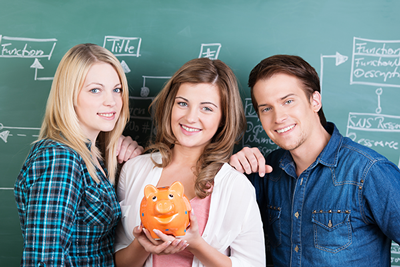 Students with Piggy Bank